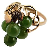 14k Jade Nephrite Bunch of Green Grapes Bead Cluster Ring Vintage Yellow Gold 14KT Size 4.5