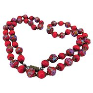 Art Deco Venetian Wedding Cake Beads Tomato Red with Roses & Aventurine Lampwork Glass 25inch Necklace