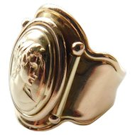 Estate Solid 14K Yellow Gold Cameo Grecian Lady Cigar Band Adjustable Size Open Backed VIOR Italy Ring 14KT