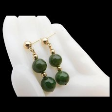Vintage Spinach Jade Nephrite Beads 14KT Gold Fill Wash Plated Pierced Post Dangle Drop Earrings 14K