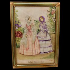 Godey's Fashions 1846 Ladies in Linen with Needle Point Embroidery Decorations Framed Art