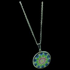 "Millifiori Art Glass Murano Sterling Silver Italy Mosaic Flowers 1inch Pendant on Sterling 18"" Chain"