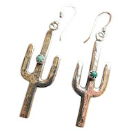 Fun Southwestern Cactus Cacti Turquoise Sterling Silver 925 Earrings Long Dangles South West