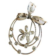 Vintage AmLee Sterling Silver Ice Crystal Rhinestone Brooch Pin Flower Ribbon and Swirls
