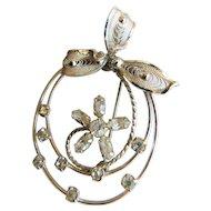 Vintage AmLee Sterling Silver Ice Crystal Rhinestone Brooch Pin Flower Ribbon and Swirls