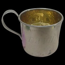 Art Deco DAVID Baby Child's Cup Sterling Silver Gold Wash Inside Saart Brothers SLB Vintage
