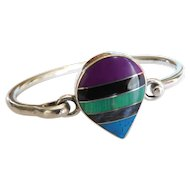 Vintage Sterling Silver Mexico 925 CII Inlaid COLORFUL Turquoise Amethyst Onyx Lapis Lazuli Malachite Bangle Bracelet Inlay