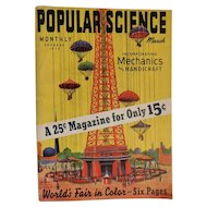 1939 March World's Fair edition of Popular Science Magazine Art Deco Mechanics Airplanes Boating Handicraft Complete