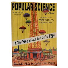 1939 March World's Fair edition of Popular Science Magazine Art Deco Mechanics Airplanes Boating Handicraft Complete