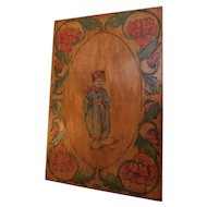 "Antique Edwardian Pyrography Flemish Art Hand Decorated Painted Wood Plaque Picture Hanging Wall Art Dutch Boy & Poppies 18""x12"" Folk Art"