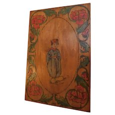 """Antique Edwardian Pyrography Flemish Art Hand Decorated Painted Wood Plaque Picture Hanging Wall Art Dutch Boy & Poppies 18""""x12"""" Folk Art"""