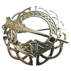 Ireland Celtic Sterling Silver Signed Michael Goldstone Tara Irish Penannular Pin or Pendant Combo