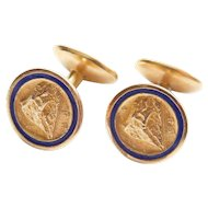Edwardian to Art Deco Rock of Gibraltar Souvenir or Prudential Insurance Gold Fill Plate Service Award Cuff Links Blue Enamel Antique