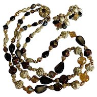 GORGEOUS Vintage Amber Crystal Gold Nugget Brown Black Beaded Two Strand Choker Necklace & Chunky Earrings Clip On Set