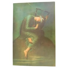 "Antique Original Lithograph Print HOPE by George Frederic Watts 12""x8"" Unframed Blindfolded Lady Justice with Lyre Sitting On World"
