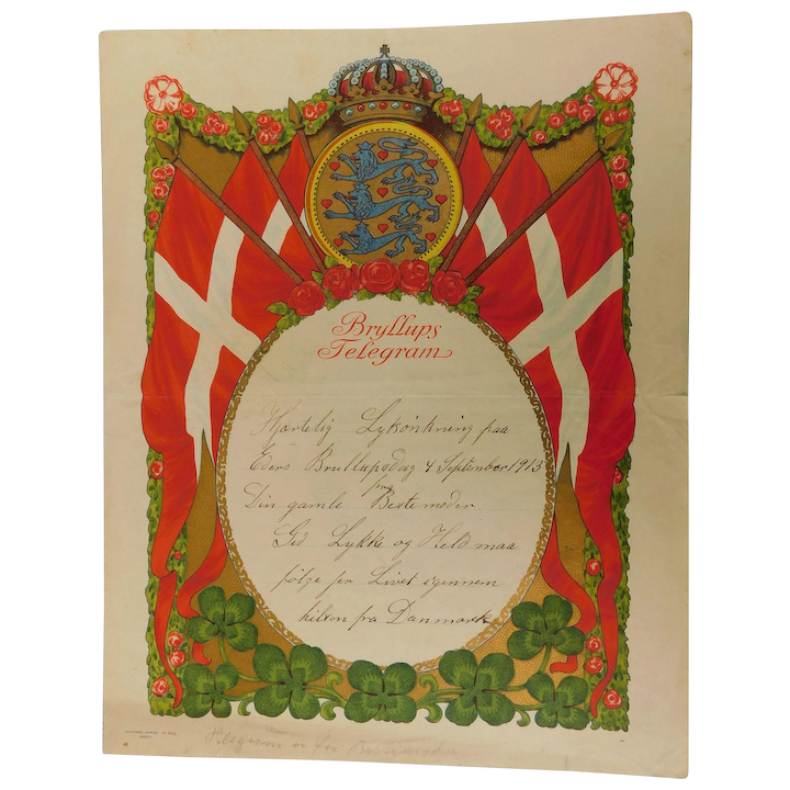 Beautiful Lithograph Antique 1913 Bryllups Marriage Telegram Announcement &  Song Danish Denmark Document Wedding Flags Shield Lions Crest