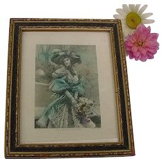 Antique Edwardian Framed Art In a French Garden Lithograph Print Lady Looks in Hat with flowers Hand Tinted Framed Shabby Chic