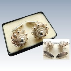 835 GBS Dutch Silver Etruscan Revival Double Sided Cufflinks or Fancy Button Studs Signed