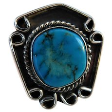 Vintage 1.25inch Mount Native American Indian Turquoise Sterling Silver Ring Size 6 Southwest