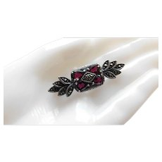 Vintage Sterling Silver Garnet Marcasite Brooch Pin Raspberry Red Rhodolite Color JC 925