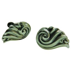 Vintage DANECRAFT Repousse Shell Swirl Wings Sterling Silver Screwback Earrings