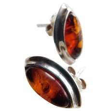 Estate Sterling Silver Rich Amber Navettes Marquise Earrings Pierced Post