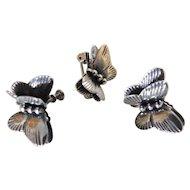 Vintage Sterling Silver 3D Butterfly Set Screwback Earrings & Brooch Pin Butterflies