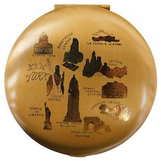 Vintage New York Souvenir Make Up Cosmetic Compact with Mirror 1940s - 1950s
