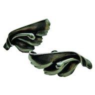Vintage Sterling Silver Flower Floral Earrings Screwback