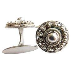 Vintage Cufflinks Sterling Silver Ornate Cannetille Work Signed Cuff Link