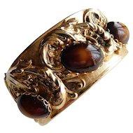 Vintage Antique Style Large Clamper Bracelet Bangle Brown Givre Two Tone Glass Cabochons