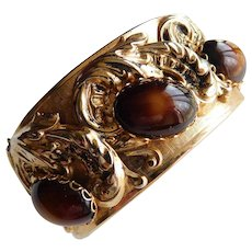 Vintage Antique Style Large Clamper Bracelet Bangle Brown Givre Two Tone Glass Cabochons