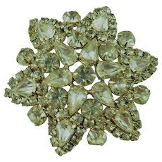 Lovely Vintage Clear Ice Bling Diamonte Brooch 2.25inch Pin Silver tone with Pears & Rounds Crystals 1950s