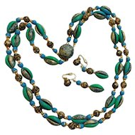 Delightful 1960s Hong Kong Blues Teal Greens & Golds Roses Necklace Choker Clip On Earrings Set Demi Parure