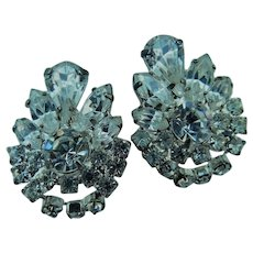 Vintage Stunning Sparklers Art Deco Ice Clear Crystal Rhinestone Clip On Earrings Navettes Pear & Rounds