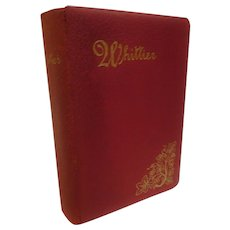 1902 Poems of John Greenleaf Whittier with Biographical Sketch Poetry Victorian Antique Book Leather Red & Gilt Fine Binding