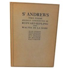 1926 St. Andrews University Scotland Two Poem Rudyard Kipling Walter De La Mare & 16 Pencil Drawings Etchings by Malcolm Patterson Book