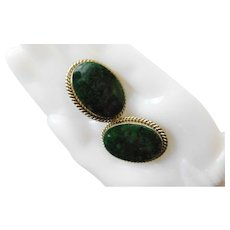 Vintage Spinach Jade Nephrite Gold Fill Wash Plated Large Clip On Earrings 1.15inch x .85inch Oval