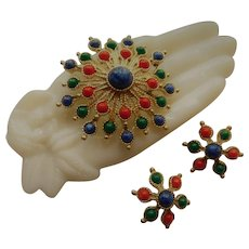 """1977 Vintage Sarah Coventry Signed Brooch Pin Earrings Set """"Carnival"""" Blue Green Red Cabochons Faux Lapis Lazuli center"""