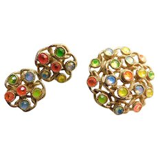 """1970 """"Moon Lites"""" Vintage Sarah Coventry Signed Brooch Earrings Set Demi Parure NEON Opalescent Crystals Mod Hippy Costume Jewelry"""
