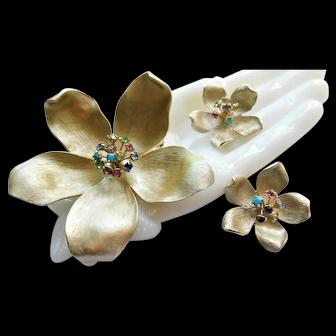 Beautiful Vintage Patent PAT 156452 Cherry Blossom Flower Crystal Brooch & Earrings Demi Parure Costume Set Rhinestone