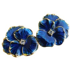 Stunning Big Rich Blue Enamel Crystal Rhinestone Pansy Flower Clip Ons Earrings Possibly Gold Plated