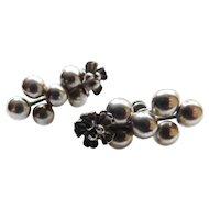 Vintage Unusual Flower & Beads Balls Sterling Silver Earrings Screwbacks