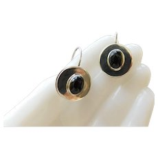 Estate Sterling silver Black Onyx Cabochons MEXICO 925 Dangle Drops