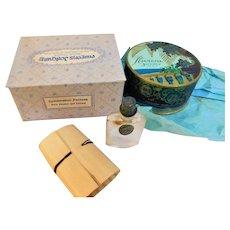 Art Deco Vintage Sealed Riviera Joncaire Paris Rachel Face Powder Advertising Box & Perfume Bottle