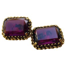 Amethyst Purple Crystal Faceted Glass Emerald Cut 1.25inch BIG Clip On Earrings Gold Braid Solitaires Vintage