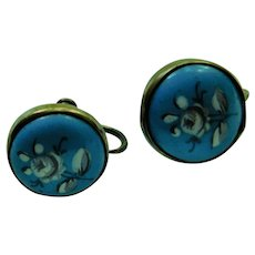 Georgian to Victorian Antique Turquoise Robin Egg Blue Enamel Hand Painted Roses Porcelain Gold Fill Gilt Plate Screwback Earrings