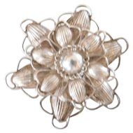 Antique 900 Layered Coin Silver Brooch Pin Starburst Design Not Quite Sterling