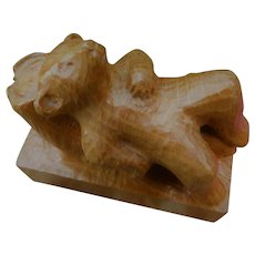 Vintage Hand Carved Wood Sleeping Bear E. Rother Signed Sculpture