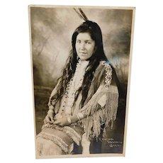 Apache Native American Indian Girl Postcard Antique Real Photo RRPC Beautiful Beaded Dress ca 1910 Edwardian Era